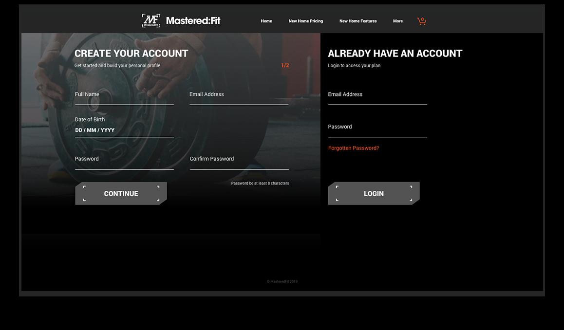 Mastered Fit website onboarding