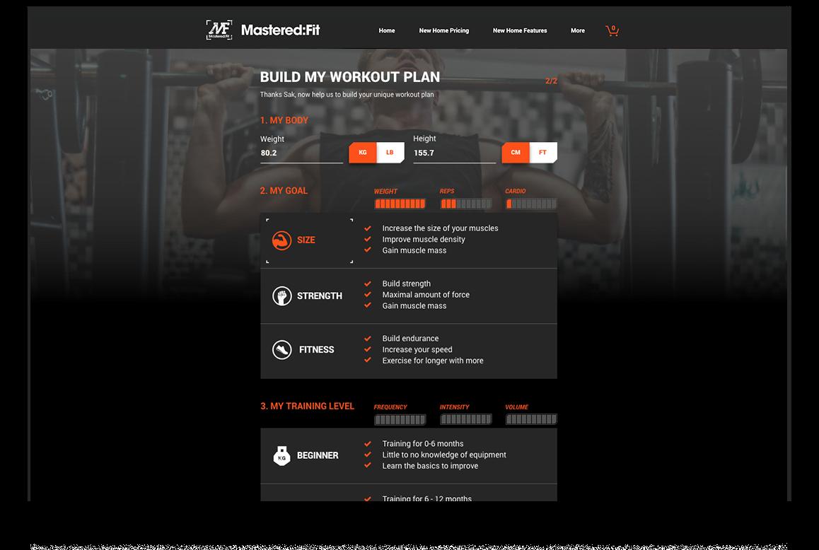 Mastered Fit website workout plan