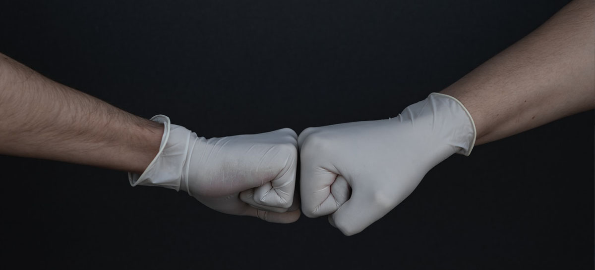 fist bump with gloves